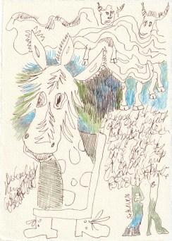 Tagebucheintrag 21.08.2020, Der Esel ist kein Goldesel, 20 x 15 cm, Tinte und Buntstift auf Silberburg Büttenpapier, Zeichnung von Susanne Haun (c) VG Bild-Kunst, Bonn 2020