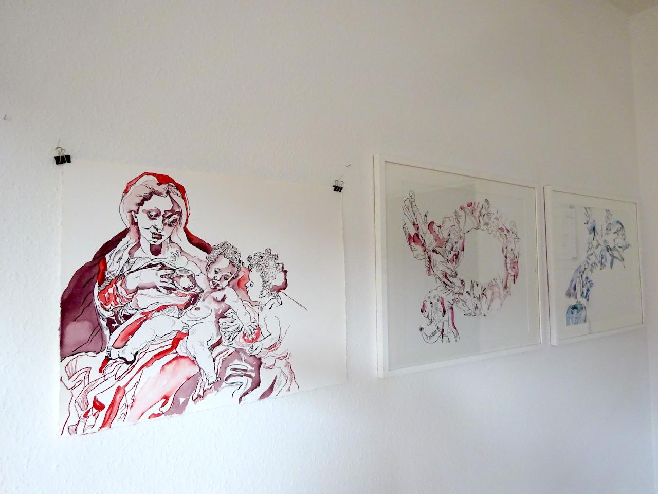 Entstehung Madonne del Latte nach Corregio, 69 x 57 cm, Tusche auf William Turner Hahnemühle Papier, Zeichnung von Susanne Haun (c) VG Bild-Kunst, Bonn 2020