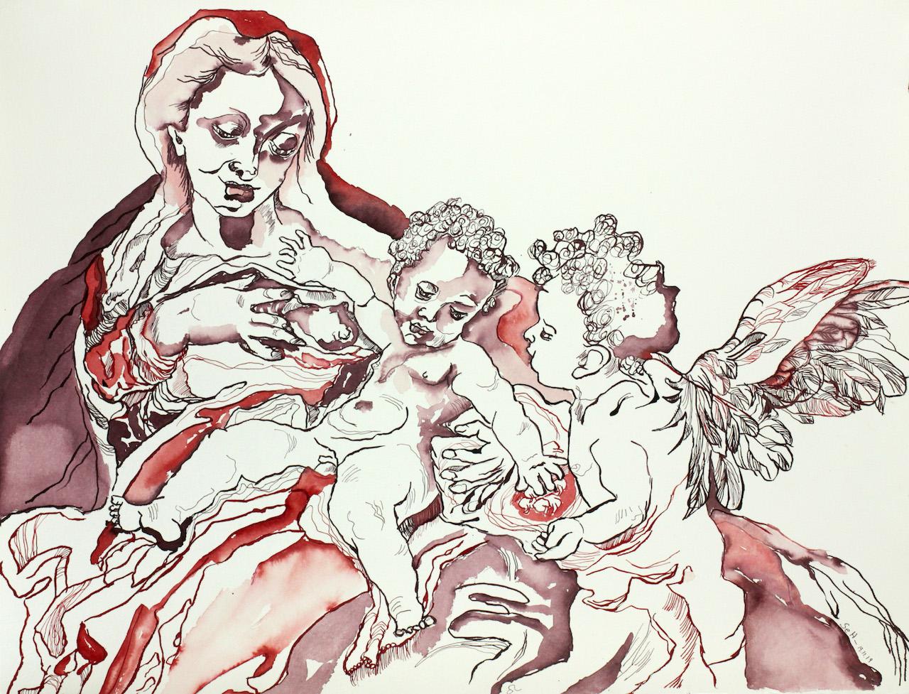 Madonne del Latte nach Corregio, 50 x 65 (c) Zeichnung von Susanne Haun