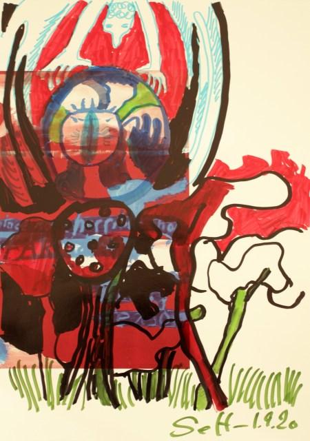 Die ist trotz allem Chaos noch schön, , 30,5 x 22,7 cm, Marker auf Katalog, Aneignung, Zeichung von Susanne Haun (c) VG Bild-Kunst, Bonn 2020