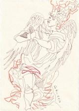 Tagebucheintrag 06.09.2020, Betender, tanzender Engel, 20 x 15 cm, Tinte und Buntstift auf Silberburg Büttenpapier, Zeichnung von Susanne Haun (c) VG Bild-Kunst, Bonn 2020