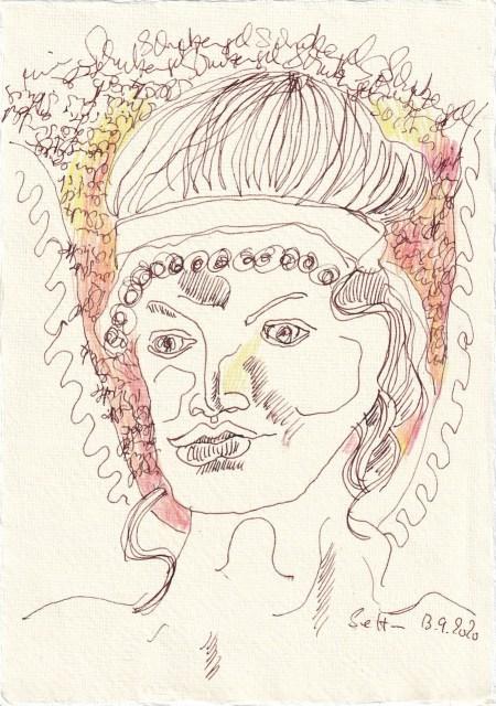 Tagebucheintrag 13.09.2020, Engel sammeln Schätze, 20 x 15 cm, Tinte und Buntstift auf Silberburg Büttenpapier, Zeichnung von Susanne Haun (c) VG Bild-Kunst, Bonn 2020