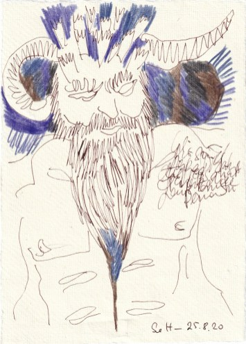 Tagebucheintrag 25.08.2020, Teufel oder Moses, 20 x 15 cm, Tinte und Buntstift auf Silberburg Büttenpapier, Zeichnung von Susanne Haun (c) VG Bild-Kunst, Bonn 2020