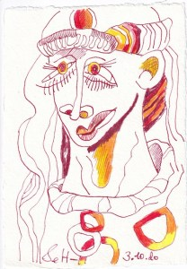 Tagebucheintrag 03.10.2020, Kettenglied, 20 x 15 cm, Tinte und Buntstift auf Silberburg Büttenpapier, Zeichnung von Susanne Haun (c) VG Bild-Kunst, Bonn 2020