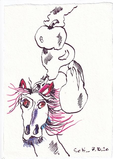 Tagebucheintrag 07.10.2020, Hüh Hot, ein Balanceakt, 20 x 15 cm, Tinte und Buntstift auf Silberburg Büttenpapier, Zeichnung von Susanne Haun (c) VG Bild-Kunst, Bonn 2020