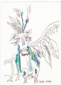 Tagebucheintrag 09.10.2020, Höllentier, 20 x 15 cm, Tinte und Buntstift auf Silberburg Büttenpapier, Zeichnung von Susanne Haun (c) VG Bild-Kunst, Bonn 2020