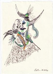 Tagebucheintrag 10.10.2020, Nicht vor und nicht zurück, 20 x 15 cm, Tinte und Buntstift auf Silberburg Büttenpapier, Zeichnung von Susanne Haun (c) VG Bild-Kunst, Bonn 2020