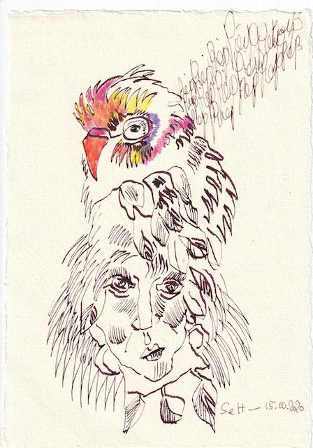 agebucheintrag 15.10.2020, Piep Piep Piep, 20 x 15 cm, Tinte und Buntstift auf Silberburg Büttenpapier, Zeichnung von Susanne Haun (c) VG Bild-Kunst, Bonn 2020