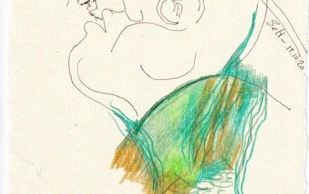 Tagebucheintrag 19.10.2020, Blowing in the wind, 20 x 15 cm, Tinte und Buntstift auf Silberburg Büttenpapier, Zeichnung von Susanne Haun (c) VG Bild-Kunst, Bonn 2020