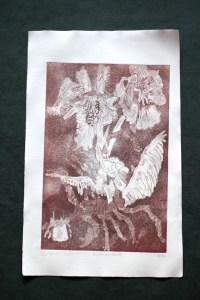 1. Zustandsdruck, Auch Engel lassen sich gerne tragen, 29,5 x 19,5 cm, 38,5 x 26 cm, Hahnemühle 150g, weiß matt, Kuperdruckpapier, Aquatinta von Susanne Haun