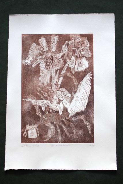 2. Zustandsdruck, Auch Engel lassen sich gerne tragen, 29,5 x 19,5 cm, 38,5 x 26 cm, Hahnemühle 300g, weiß matt, Kuperdruckpapier, Aquatinta von Susanne Haun