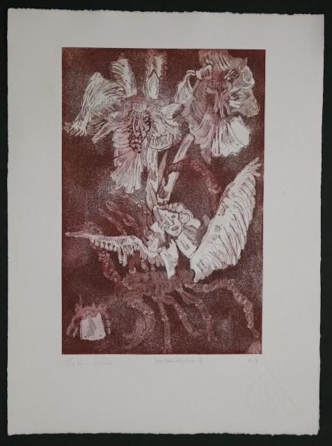 4. Zustandsdruck, Auch Engel lassen sich gerne tragen, 29,5 x 19,5 cm, 38,5 x 26 cm, Hahnemühle 300g, weiß matt, Kuperdruckpapier, Aquatinta von Susanne Haun