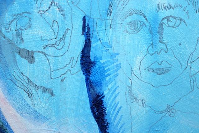 Ausschnitt - Kuss Mund, Gemälde von Susanne Haun, Acryl und Tusche auf Leinwand, 60 x 90 cm (c) VG Bild-Kunst, Bonn 2020