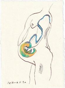 Tagebucheintrag 06.11.2020, Es ist ein Sohn, 20 x 15 cm, Tinte und Buntstift auf Silberburg Büttenpapier, Zeichnung von Susanne Haun (c) VG Bild-Kunst, Bonn 2020