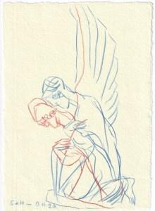 Tagebucheintrag 13.11.2020, Wächterengel am Liesenfriedhof nach links schauend, 20 x 15 cm, Buntstift auf Silberburg Büttenpapier, Zeichnung von Susanne Haun (c) VG Bild-Kunst, Bonn 2020
