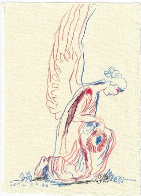 Tagebucheintrag 13.11.2020, Wächterengel am Liesenfriedhof nach rechts schauend, 20 x 15 cm, Buntstift auf Silberburg Büttenpapier, Zeichnung von Susanne Haun (c) VG Bild-Kunst, Bonn 2020
