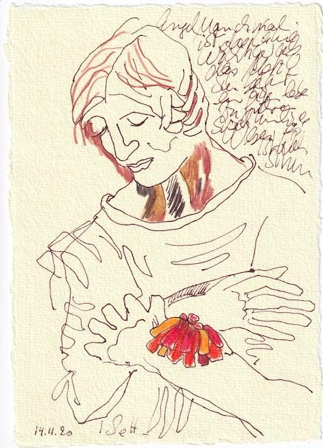 Tagebucheintrag 14.11.2020, Versunken in eine Blume, 20 x 15 cm, Tinte und Buntstift auf Silberburg Büttenpapier, Zeichnung von Susanne Haun (c) VG Bild-Kunst, Bonn 2020