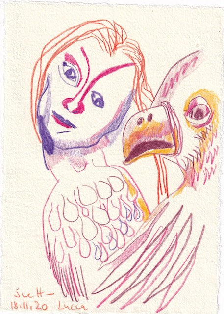 Tagebucheintrag 18.11.2020, Lucca, 20 x 15 cm, Tinte und Aquarell auf Silberburg Büttenpapier, Zeichnung von Susanne Haun (c) VG Bild-Kunst, Bonn 2020
