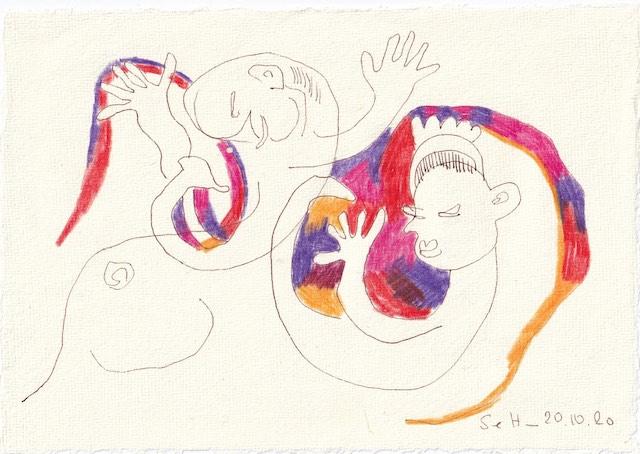 Tagebucheintrag 20.10.2020, Die Freiheit beginnt mir der Geburt, Hannah Arendt, 20 x 15 cm, Tinte und Buntstift auf Silberburg Büttenpapier, Zeichnung von Susanne Haun (c) VG Bild-Kunst, Bonn 2020