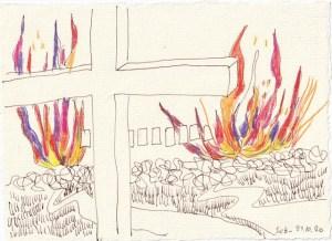 Tagebucheintrag 21.10.2020, Feuer über der Stadt, 20 x 15 cm, Tinte und Buntstift auf Silberburg Büttenpapier, Zeichnung von Susanne Haun (c) VG Bild-Kunst, Bonn 2020