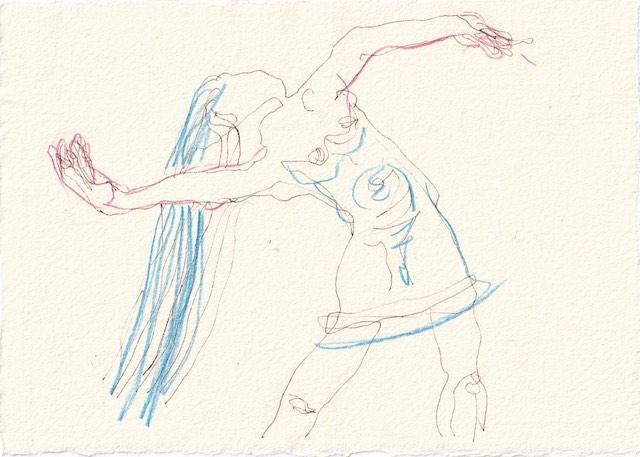 Tagebucheintrag 23.11.2020, Die zweite war Fiammetta - Version 2, 20 x 15 cm, Tinte und Aquarell auf Silberburg Büttenpapier, Zeichnung von Susanne Haun (c) VG Bild-Kunst, Bonn 2020