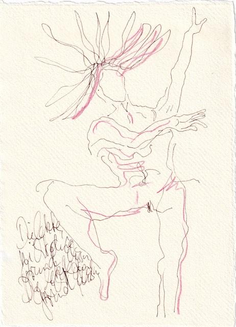 Tagebucheintrag 25.11.2020, und die letzte, nicht ohne Grund, Elissa , 20 x 15 cm, Tinte und Aquarell auf Silberburg Büttenpapier, Zeichnung von Susanne Haun (c) VG Bild-Kunst, Bonn 2020