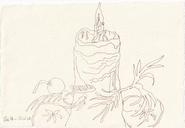 Tagebucheintrag 13.12.2020, Ein Lichtlein brennt, 20 x 15 cm, Tinte und Aquarell auf Silberburg Büttenpapier, Zeichnung von Susanne Haun (c) VG Bild-Kunst, Bonn 2020
