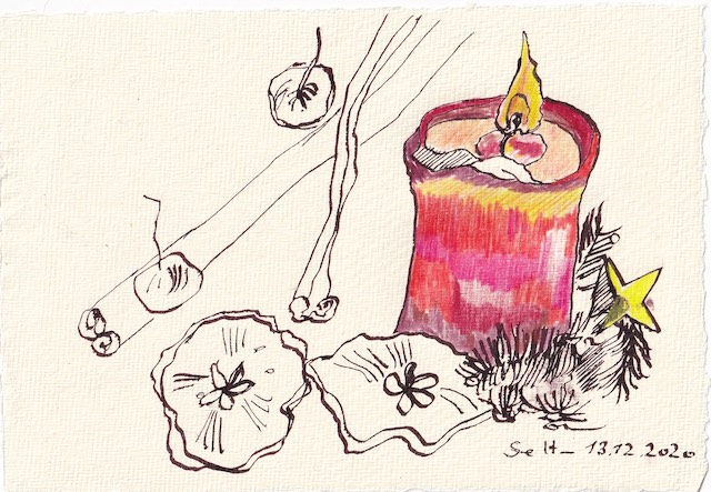 Tagebucheintrag 13.12.2020, Ein Lichtlein brennt rot, 20 x 15 cm, Tinte und Aquarell auf Silberburg Büttenpapier, Zeichnung von Susanne Haun (c) VG Bild-Kunst, Bonn 2020