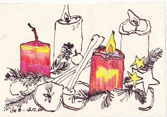 Tagebucheintrag 13.12.2020, Zwei Lichtlein brennen, 20 x 15 cm, Tinte und Aquarell auf Silberburg Büttenpapier, Zeichnung von Susanne Haun (c) VG Bild-Kunst, Bonn 2020