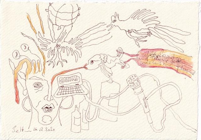 Tagebucheintrag 16.12.2020, Dekameron, Welche Erwartungen und Träume haben wir , 20 x 15 cm, Tinte und Aquarell auf Silberburg Büttenpapier, Zeichnung von Susanne Haun (c) VG Bild-Kunst, Bonn 2020