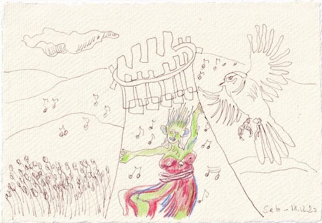 Tagebucheintrag 18.12.2020, Dekameron, Wir hören die Vögel singen, Version 1, 20 x 15 cm, Tinte und Aquarell auf Silberburg Büttenpapier, Zeichnung von Susanne Haun (c) VG Bild-Kunst, Bonn 2020