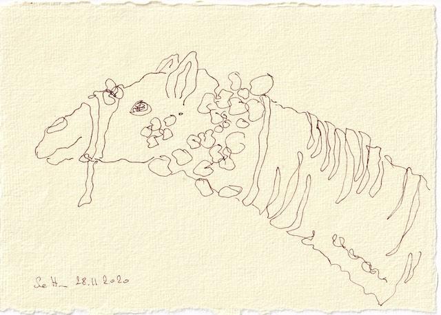 Tagebucheintrag 28.11.2020, Die Wüste lebt, 20 x 15 cm, Tinte auf Silberburg Büttenpapier, Zeichnung von Susanne Haun (c) VG Bild-Kunst, Bonn 2020