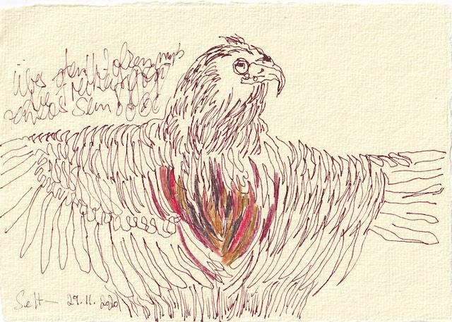 Tagebucheintrag 29.11.2020, Über den Wolken, 20 x 15 cm, Tinte und Buntstift auf Silberburg Büttenpapier, Zeichnung von Susanne Haun (c) VG Bild-Kunst, Bonn 2020