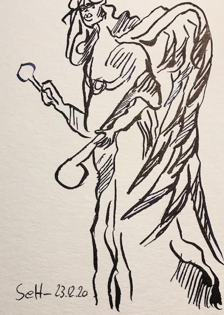 Engel-Perkussion, 12 x 17 cm, Tusche auf Aquarellkartion, Zeichnung von Susanne Haun (c) VG Bild-Kunst, Bonn 2021
