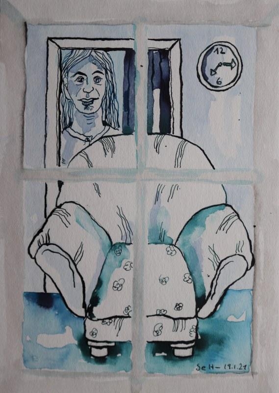 10 Blick aus dem Fenster, 60 x 45 cm Zeichnung von Susanne Haun