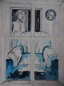 11 Blick aus dem Fenster, 60 x 45 cm Zeichnung von Susanne Haun