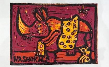 Entstehung Nashorn mit gelber Decke, Linolschnitt von Susanne Haun (c) VG Bild-Kunst, Bonn 2021