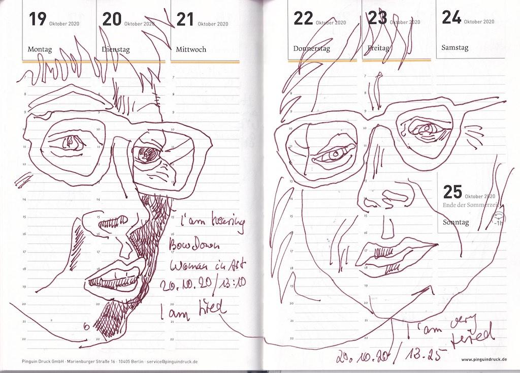Selbstbildnisstagebuch 19.10. - 31.12.2020, Zeichnung von Susanne Haun (c) VG Bild-Kunst, Bonn 2020