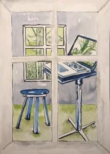 Bild 1 Wohnen, 36 x 26 cm, Tusche auf Aquarellkarton (c) Zeichnung von Susanne Haun