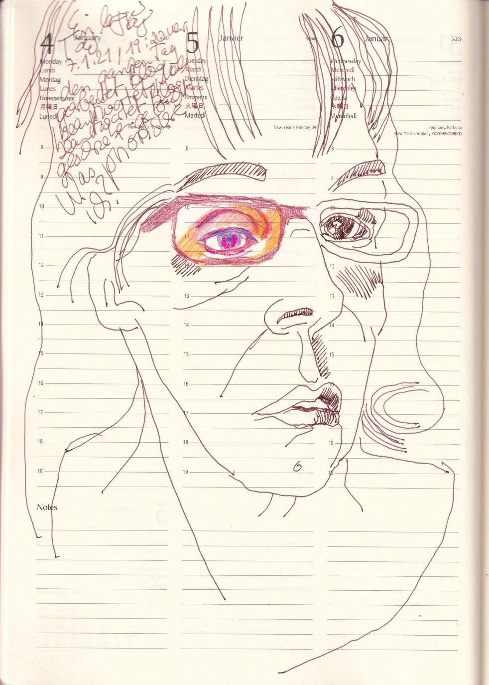 Selbstbildnisstagebuch 4.-6.1.2020 Zeichnung von SusanneHaun (c) VG-Bild-Kunst Bonn 2021