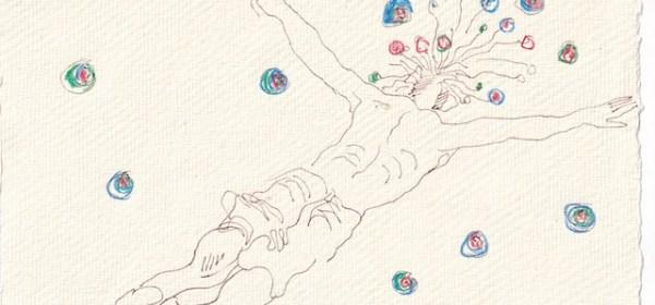 Tagebucheintrag 01.01.2021, Sturzflug ins Neue Jahr, 20 x 15 cm, Tinte und Aquarell auf Silberburg Büttenpapier, Zeichnung von Susanne Haun (c) VG Bild-Kunst, Bonn 2021