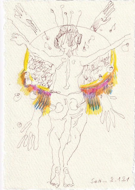 Tagebucheintrag 02.01.2021, To Do Liste, 20 x 15 cm, Tinte und Aquarell auf Silberburg Büttenpapier, Zeichnung von Susanne Haun (c) VG Bild-Kunst, Bonn 2021