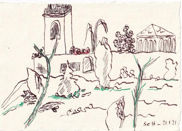 Tagebucheintrag 21.01.2021, Dekameron, Mit einem schönen großen Hof - Version 1, 20 x 15 cm, Tinte und Buntstift auf Silberburg Büttenpapier, Zeichnung von Susanne Haun (c) VG Bild-Kunst, Bonn 2021