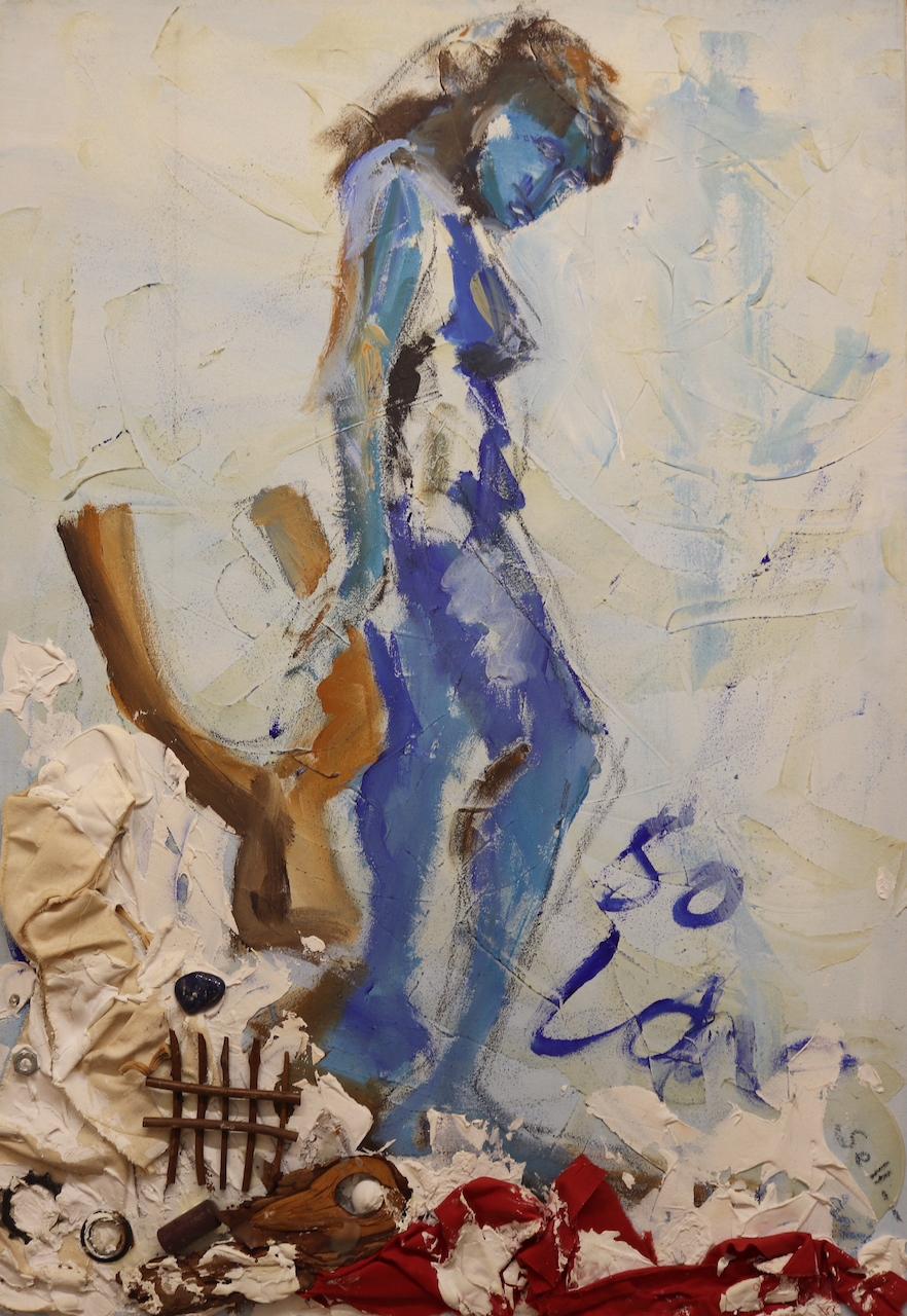 Panta rhei, Alles Fließt, Sie macht Musik, stehender Akt, Gemälde von Susanne Haun (c) VG Bild-Kunst, Bonn 2021