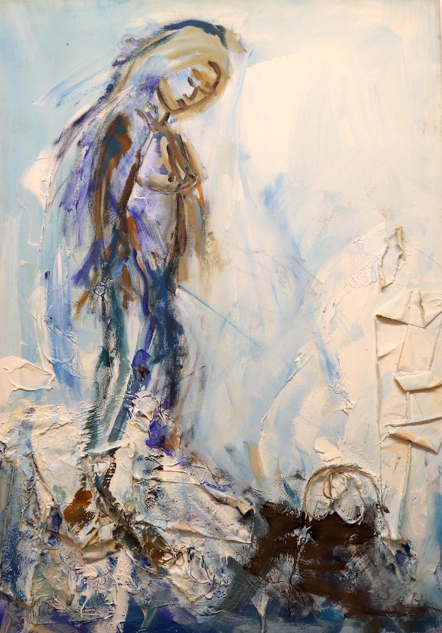 Panta rhei, Alles Fließt, Sie schaut ueber das Meer, Gemälde von Susanne Haun (c) VG Bild-Kunst, Bonn 2021