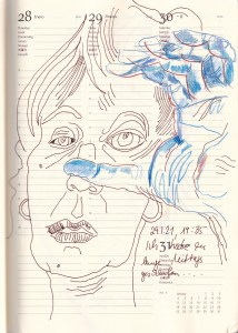 Selbstbildnisstagebuch 1.-31.1.2021 Zeichnung von SusanneHaun (c) VG-Bild-Kunst Bonn 2021