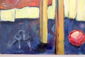 Stillleben mit Stuhl und roten Schuhen, Tango, Gemälde von Susanne Haun (c) VG Bild-Kunst, Bonn 2021