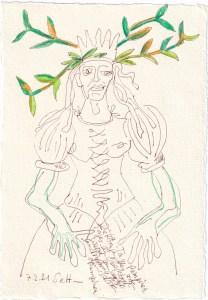Tagebucheintrag 07.02.2021, Dekameron, Pamoinea, die Königin, Version 1, 20 x 15 cm, Tinte und Buntstift auf Silberburg Büttenpapier, Zeichnung von Susanne Haun (c) VG Bild-Kunst, Bonn 2021