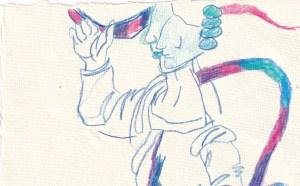 Tagebucheintrag 08.02.2021, Dekameron, Detail Pamoinea, die Königin, Version 2, 20 x 15 cm, Tinte und Buntstift auf Silberburg Büttenpapier, Zeichnung von Susanne Haun (c) VG Bild-Kunst, Bonn 2021