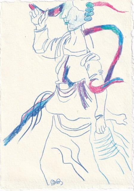 Tagebucheintrag 08.02.2021, Dekameron, Pamoinea, die Königin, Version 2, 20 x 15 cm, Buntstift auf Silberburg Büttenpapier, Zeichnung von Susanne Haun (c) VG Bild-Kunst, Bonn 2021